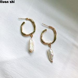 HUANZHI барокко Дизайн S925 Sterling Silver Pin Gold Metal Сложите круг Нерегулярное пресной воды Pearl Длинные серьги стержня для женщин