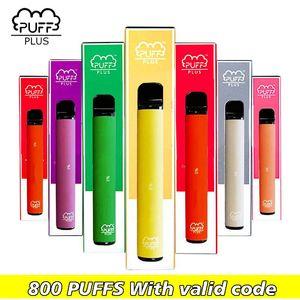 Puff Bar Plus 800 bocanadas Nueva precargada desechable Dispositivo Pod palillo de Vape vapor Puff Puff Plus Proveedor envío libre de DHL