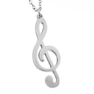 Women Jewelry Silver Color G treble clef Pendant Necklace Brand New Stainless Steel Rolo O link Chain Necklace Friendship Gifts1
