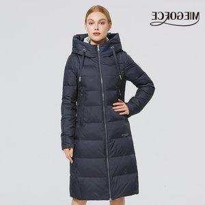 Bir Hood Soğuk Sıcak Aşağı Coat Windproof Parkas ile 2020 Miegofce Yeni Kış Bayan Uzun Ceket Dik Yaka