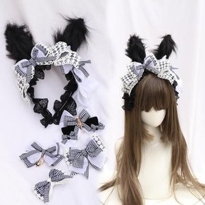 Japanese Style Soft Girl Alice's Handmade Plush Ear Bow Headwear Black White Plaid Lolita KC Hairpin Edge Clip Headband