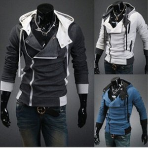 Mens Assassins Creed 3 com capuz Brasão Jacket Brasão Masculino Casual Fit Sleeved longos capuz Jacket Coa 1NEy # Moda Oblique Zipper Magro Hoodies