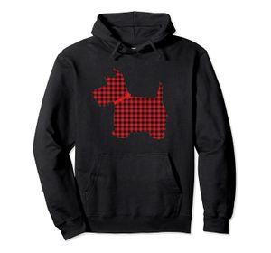 Scottie Dog Écossais Terrier Rouge Noir Buffalo Plaid Sweat à capuche unisexe Taille S-5XL avec Couleur Noir / Gris / Marine / Bleu Royal / Dark Heather