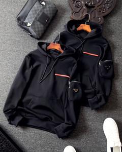 20SS capuche européen de rue modèles hommes veste classique brodé manches étiquette surdimensionné à double glissière YKK sweat-shirt de poche