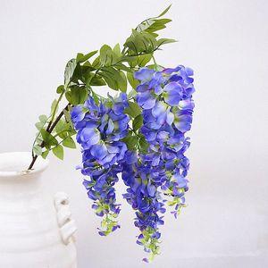 Tallo largo 3heads Rama de flores de wisteria artificial para la decoración de la fiesta de bodas Seda + Ratán de plástico Flores Decoración de jardín Guirnalda Hsoy #