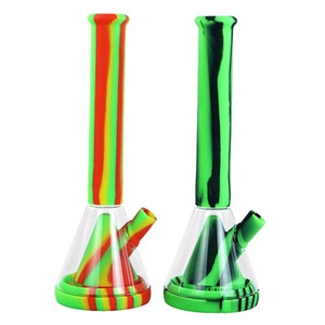 355MM tall beaker base Silicone Water Pipe printing glass bongs glass water pipe with glass bowl