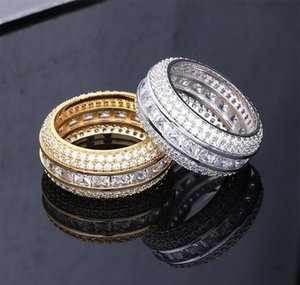New Fashion 18k Gold & White Gold Blingbling Cz Cubic Zirconia Full Set Finger Band Ring Luxury Hip Hop Diamond Jewe wmtEul dayupshop