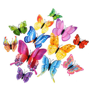 House Decoration Double Wings Magnet Butterflies Refrigerator Stickers Home Decor Removable 3D Wall Stickers Home Decor HWB1714