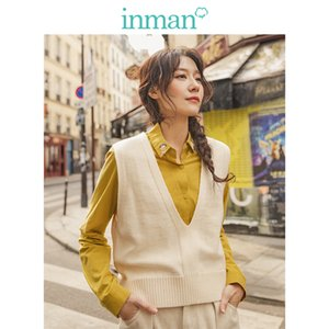 INMAN Spring Autumn Solid Deep V-neck Sleeveless All Matched Women Sweater Short Snit Vest A1107