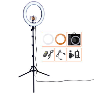 FOSOTO 18 Inch Photographic Lighting Camera Phone Photo Studio Ring Lamp Photography Ringlight Led Ring Light With Tripod Stand LJ200910