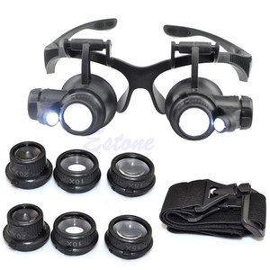 10X 15X 20X 25X LED Double Eye Jeweler Repair Watch Magnifier Loupe Glasses Lens T200521