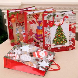 6pcs / Set Bags regalo di Natale Santa Sacks Kraft Paper Bag Kids Party Favors Box Decorazioni di Natale Capodanno1