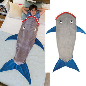 Children's Shark Fleece Blankets Winter Thicken Warm Kids Sleeping Bag Cartoon Mermaid Tail Covers Blanket Wholesale