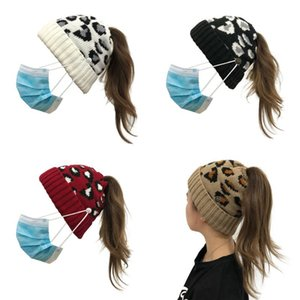DHL Shipping Women Knitted Caps with Button Criss Cross Ponytail Hats Winter Warm Leopard Cap Adult Sport Woolen Skull Hat Kimter-L759FA