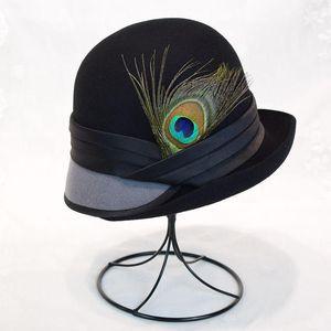 Women Wool Pillbox Fedora Trilby Hat Bowknot Peacock Feathers Bowler Bucket Hat Floppy Brim Clotche Winter Spring 2020