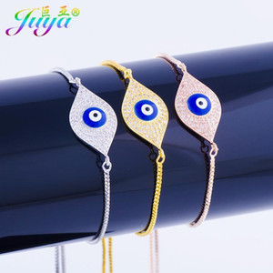 Juya Handmade Adjustable Chains Greek Eye Charm Bracelets For Women Gold Rose Gold Fatima Evil Eye Bracelets Supplies1