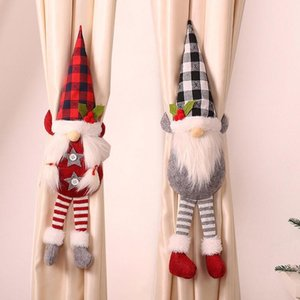 Christmas Forest Curtain Button Faceless Doll Curtain Tieback Buckle Window Decor Novelty Accessories 53x43x6cm