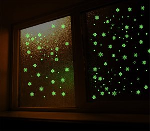 Christmas Luminous Stickers Snowflake Fluorescent Xmas Wall Sticker Merry Christmas Children's Bedroom Decoration HHB2373