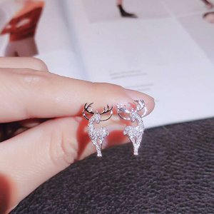 New Creative Christmas Stud Earring Fashion Christmas Elk Crystal Deer Earrings Women Jewelry Gift Christmas Gift