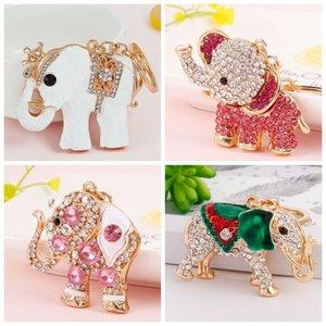 Charm Pendant Lucky Mascot Elephant Keychain Crystal Keyring Bag Purse Buckle Car Keys Holder 3 Colors