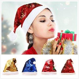 Блестки Шляпы 2 Side Двойные цвета рождественские блестки Hat флип пришивания фестиваль Декор Партия Шляпы для взрослых Колпачки Новогоднее украшение DHE2122
