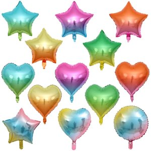 """18""""Gradient Color Party Foil Balloon Rainbow Color Love Form Balloons Five-pointed Star Round Aluminum Balloons Wedding Party Xmas Decoratio"""