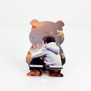 DIY الهاتف الخشبي يقف صغير الدب لطيف الهواتف المحمولة أقواس التسامي الفراغات الكرتون أصحاب الصور زخرفة المنزل 4 1BD G2