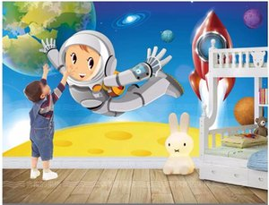 3d wall papers custom photo Hd hand-painted children's room for space rocket astronauts 3d wall murals wallpaper for walls 3 d
