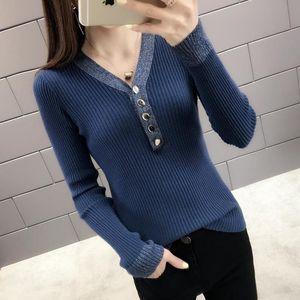 Herbst-neue Art Thin Top V-Ausschnitt Knit Low Waist Jersey Short-langärmliges Net Red Sweater Frauen Pullover
