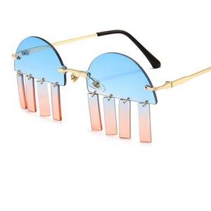 New Fashion Frameless Pendant Sunglasses Women Men Personality Design Catwalk Decoration Pink Glasses Sexy Cool Rimless Eyewear
