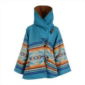 Brand Design Elegant Women Fashion Cape Coat Print Blends Wool Coat 2020 Warm Winter Outerwear Flare Sleeve Loose Female Jackets