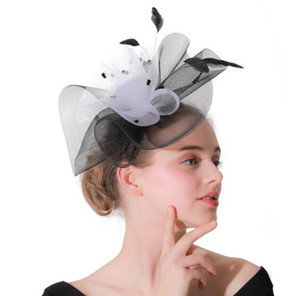 Banquet Hat Net Yarn Top Wedding Headdress Feather Hairpin Hair Accessories Hats for Party Wedding Fascinator Hat Many Colors on Sale