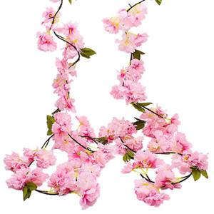 2 Pack Artificial Cherry Blossom Garland,Hanging Vine Fake Flowers Silk Garland,Home Wedding Party Decor,Pink