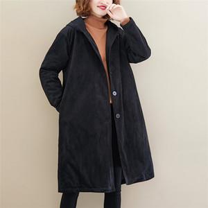 Gevşek Kadın Kapşonlu Hendek Coats Thicked Kadife Cardigant Uzun Kollu Coats Kış Katı Renk Edebiyat Stil Kadın Giyim