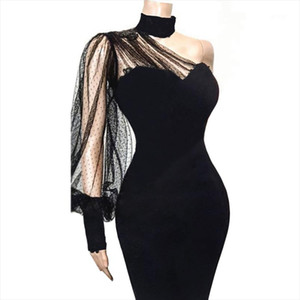 Sexy One Shoulder Slope Long Sleeve Dress Black Mesh Patchwork Party Transparent Women Vestido Bodycon Event Backless Celebrate