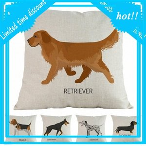 Nuevos perros de acuarela Beagle Doberman Dalmatian Labrador Poodle Impreso Cojín Cubierta Casera Decorativa Sofá Coche Tiro Funda de almohada Okjw #