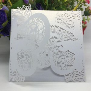 20pcs Iridescent Pearl Paper Wedding Invitation Card Laser Cut Wedding Card Heart Pattern Hollow Out Carved Party