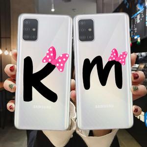 Cute Bow-Knot Couples Case Custodia per Samsung A51 A71 A10 A20 A30 A40 A40 A50 A70 A7 A9 Soft Silicone Shell Shell Fundas