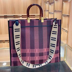 Dameneinkaufstasche Große Kapazität Tote Handtasche breiter Schultergurt beliebte Mama-Tasche einfache Streifen lila