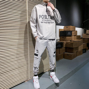 High Quality Men's Casual Printed Pullover + Sweatpants 2PCS Set Men Elastic Waist Jogging Tracksuit Male 2020 New Men Clothing