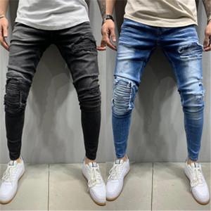 Складывает Hole Jeans Man тенденция моды Casual Zipper Всего матч Тонких джинсовые брюки Дизайнер Мужской Осень Новой эластичный пояс Узких джинсовые брюки