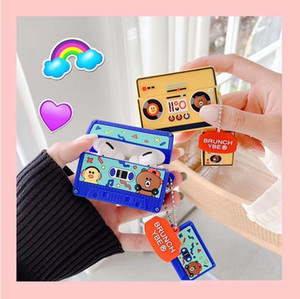 Smooth Silicone Colorful Cassette Bear Duck Tape Old School Radio Earphone Case For Airpods 1 2 Pro Buy One Corresponding Ring
