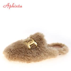 Aphixta 2020 Neue Furry Winter Warme Metallkette Schnalle Home Hausschuhe Frauen Flip Flop Runde Zeh Maultiere Schuhe Indoor Hausschuhe Weibliche F1224