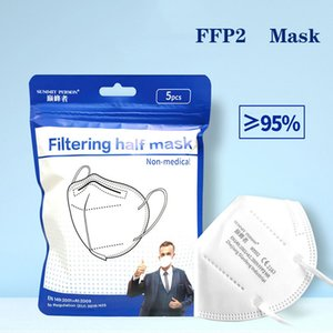 Masque FFP2 5 pcs / lot CE CE CECIER MASQUE DE FACE 6 COUCHES ANTI-Influenza Mascarilla UE Whitelist Masques réutilisables