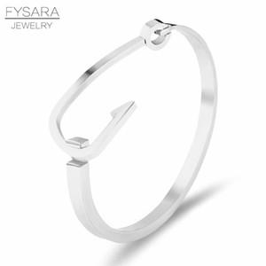 Fysara Crime Punk Big Fish Hook Bracelets Bangles For Men Jewelry Accessories Brand Gold Lover Cuff Bangles Uninsex Manchette jllUtz