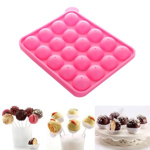 New 1PC 20 Holes Chocolate Ball Cupcake Cookie Candy Maker DIY Baking Tool Silicone Pop Lollipop Mold Stick Tray Cake Mould