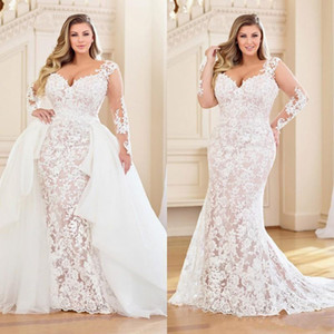 Modest Plus Size Mermaid Wedding Dresses With Detachable Train Long Sleeve Full Lace Appliqued Bridal Dress V Neck Wedding Gowns