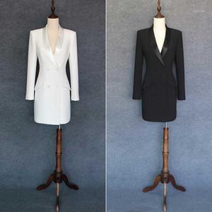 Blazer Runway Double Breasted Elegant Black White Suit For Long Sleeve Jacket Coat Women Blazers1