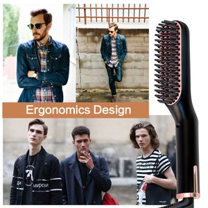 IN Beard Hair Straightener Brushes Quick Hair Straightener Comb Ceramic Fast Heat Beard Straightening Iron Hot Combs For Man
