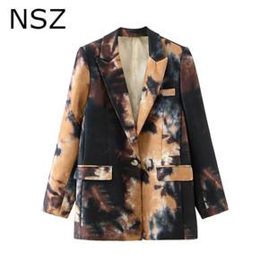 NSZ Donne inchiostro Graffiti Blazer Oversized Blazer One Button Office Ladies Giacca per feste Giacca a maniche lunghe Cappotto formale Cappotto Autunno Capispalla